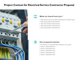 Project Context For Electrical Service Contractor Proposal Ppt Slides