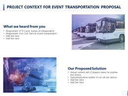 Project Context For Event Transportation Proposal Ppt Powerpoint Presentation Ideas Visuals