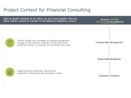 Project Context For Financial Consulting Success Powerpoint Presentation Model