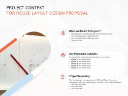 Project Context For House Layout Design Proposal Ppt Powerpoint Slides Guide