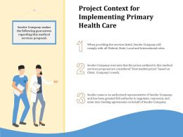 Project Context For Implementing Primary Health Care Ppt File Topics