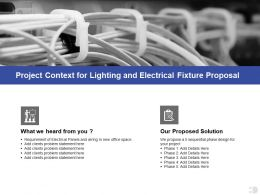 Project Context For Lighting And Electrical Fixture Proposal Ppt Powerpoint Presentation Pictures