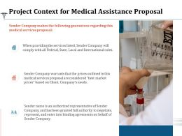 Project Context For Medical Assistance Proposal Ppt Powerpoint Presentation Professional Graphics