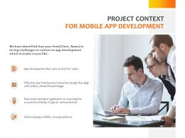 Project Context For Mobile App Development Ppt Powerpoint Presentation Gallery Icon
