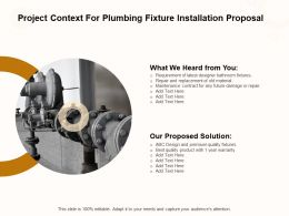 Project Context For Plumbing Fixture Installation Proposal Ppt Powerpoint Presentation Portfolio