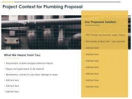 Project Context For Plumbing Proposal Ppt Powerpoint Presentation Slides
