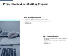 Project Context For Shuttling Proposal Ppt Powerpoint Presentation Summary