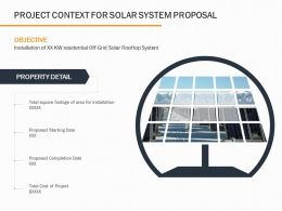 Project Context For Solar System Proposal Ppt Powerpoint Presentation Layouts Brochure