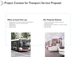 Project Context For Transport Service Proposal Ppt Powerpoint Presentation Model