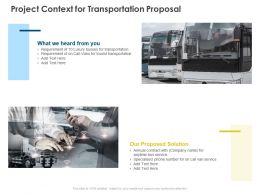 Project Context For Transportation Proposal Ppt Powerpoint Presentation Slides Topics