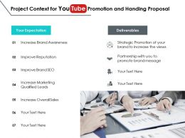 Project Context For You Tube Promotion And Handing Proposal Ppt Slides