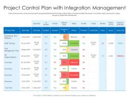 Project Control Plan With Integration Management