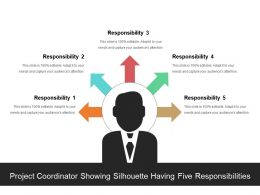 Project Coordinator Showing Silhouette Having Five Responsibilities