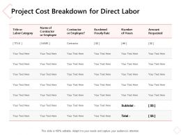 Project Cost Breakdown For Direct Labor Ppt Powerpoint Presentation Slides Demonstration