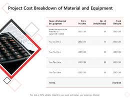 Project Cost Breakdown Of Material And Equipment Ppt Powerpoint Presentation Show Designs