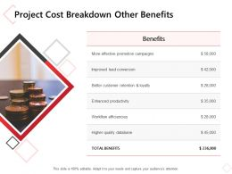 Project Cost Breakdown Other Benefits Ppt Powerpoint Presentation Portfolio Objects