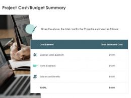 Project Cost Budget Summary Element Ppt Powerpoint Presentation Gallery Ideas