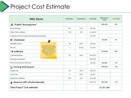 Project Cost Estimate Project Brief Ppt Powerpoint Presentation Show Graphics