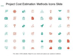 Project Cost Estimation Methods Icons Management Ppt Powerpoint Presentation Icon Templates