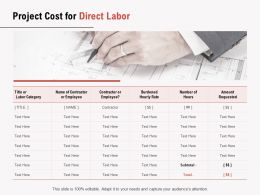 Project Cost For Direct Labor Ppt Powerpoint Presentation Summary Templates