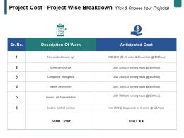 Project Cost Project Wise Breakdown Pick And Choose Your Projects Ppt Summary Format