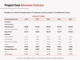 Project Cost Revenue Forecast Ppt Powerpoint Presentation Gallery Template
