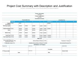 Project Cost Summary With Description And Justification
