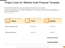 Project Costs For Website Audit Proposal Template Ppt Powerpoint Slide Download
