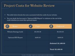 Project Costs For Website Review Price Ppt Topics