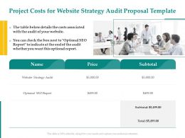 Project Costs For Website Strategy Audit Proposal Template Ppt Powerpoint Slide