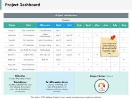 Project Dashboard Ppt Infographics Slide Portrait