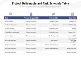 Project Deliverable And Task Schedule Table