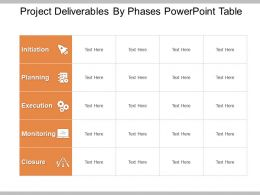 Project Deliverables By Phases Powerpoint Table