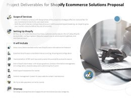 Project Deliverables For Shopify Ecommerce Solutions Proposal Ppt Powerpoint Presentation Pictures