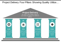 Project Delivery Four Pillars Showing Quality Utilize Accomplish And Design