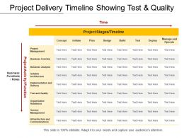 Project Delivery Timeline Showing Test And Quality