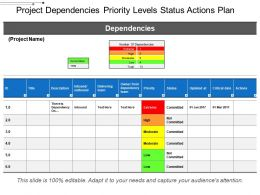 Project Dependencies Priority Levels Status Actions Plan