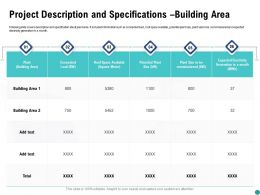 Project Description And Specifications Building Area Ppt Powerpoint Presentation Infographic