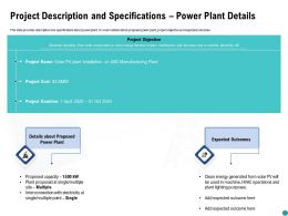 Project Description And Specifications Power Plant Details Ppt Powerpoint Presentation Slide