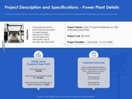 Project Description And Specifications Power Plant Details Site Ppt Powerpoint Guide