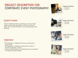 Project Description For Corporate Event Photography Ppt Powerpoint Presentation