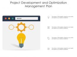 Project Development And Optimization Management Plan