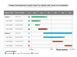Project Development Gantt Chart For Month With Level Of Completion