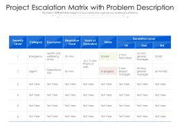 Project Escalation Matrix With Problem Description