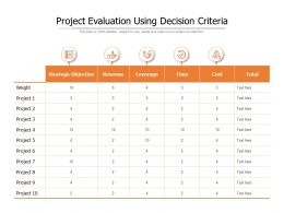 Project Evaluation Using Decision Criteria