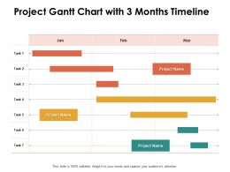 Project Gantt Chart With 3 Months Timeline Ppt Powerpoint Presentation Show Deck
