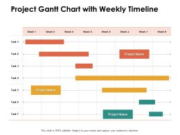 Project Gantt Chart With Weekly Timeline Ppt Powerpoint Presentation Infographics