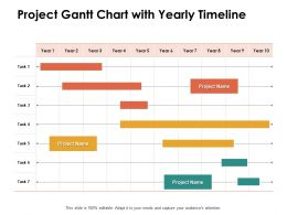 Project Gantt Chart With Yearly Timeline Ppt Powerpoint Presentation Inspiration