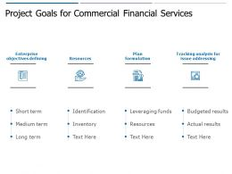 Project Goals For Commercial Financial Services Ppt Powerpoint Presentation Outline Ideas