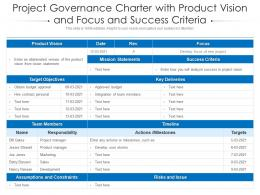 Project Governance Charter With Product Vision And Focus And Success Criteria